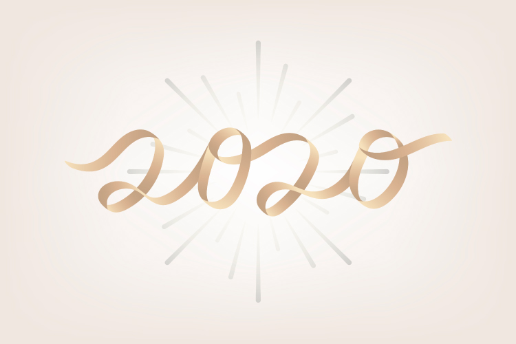 2020 in cursive sparkles against a pale pink background to celebrate the new year and healthy resolutions